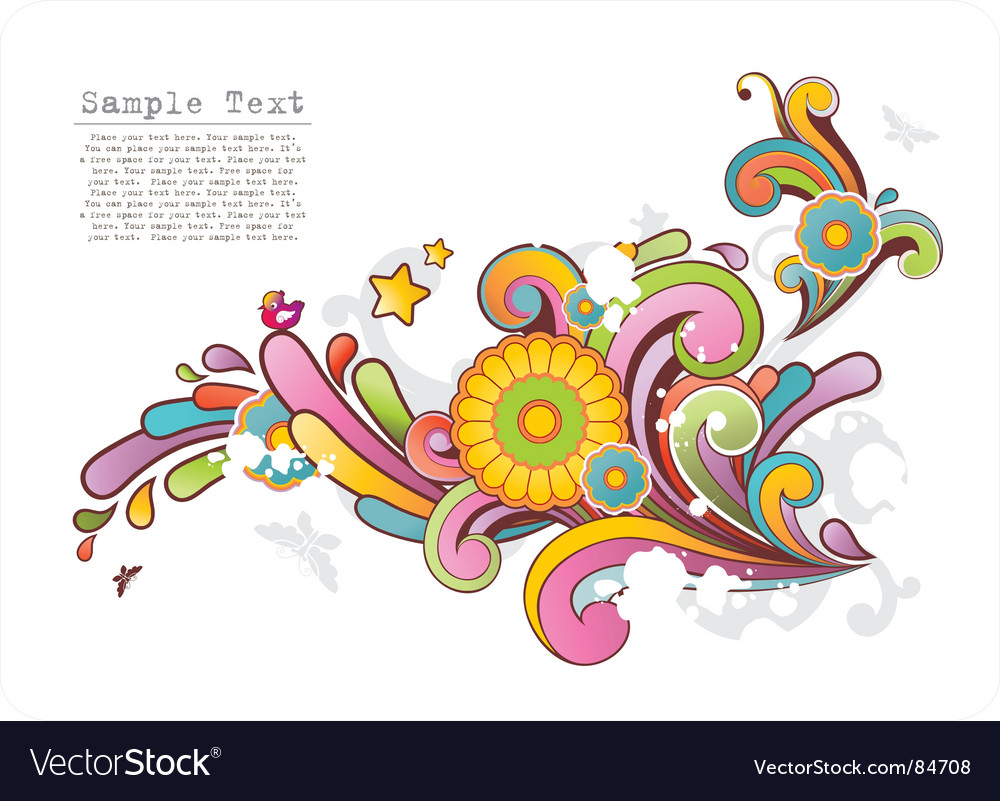 Colored ornament with floral motives vector | Price: 1 Credit (USD $1)