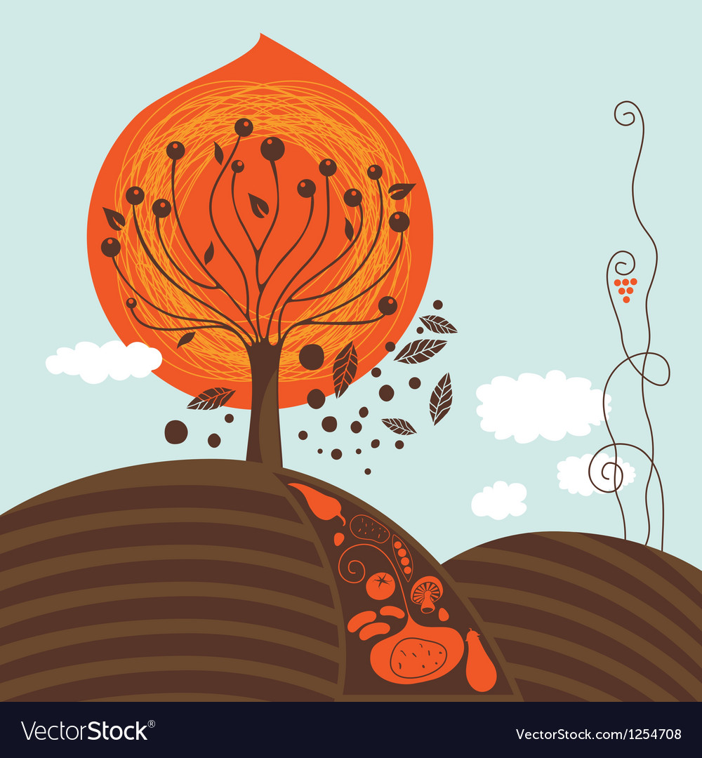 Fall scene vector | Price: 1 Credit (USD $1)