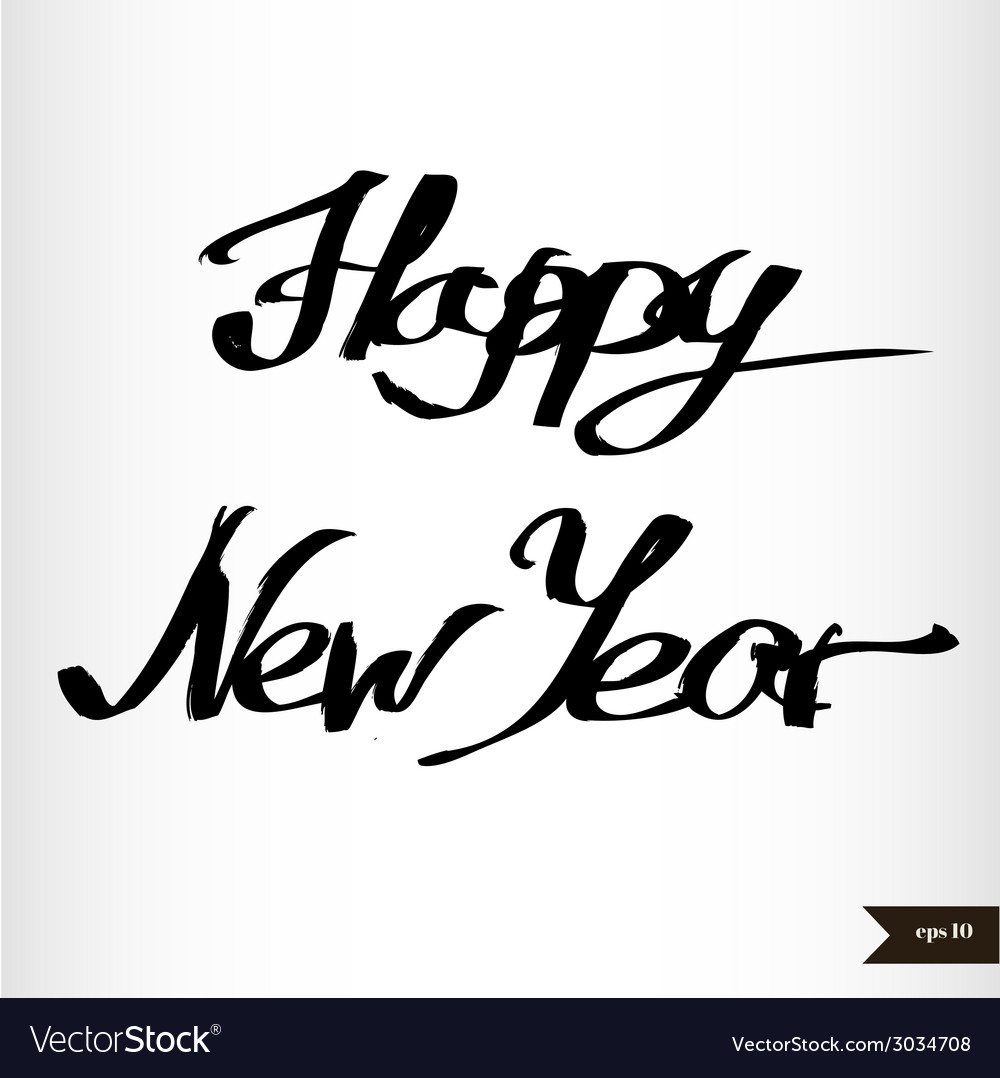 Handwritten calligraphic watercolor happy new year vector | Price: 1 Credit (USD $1)