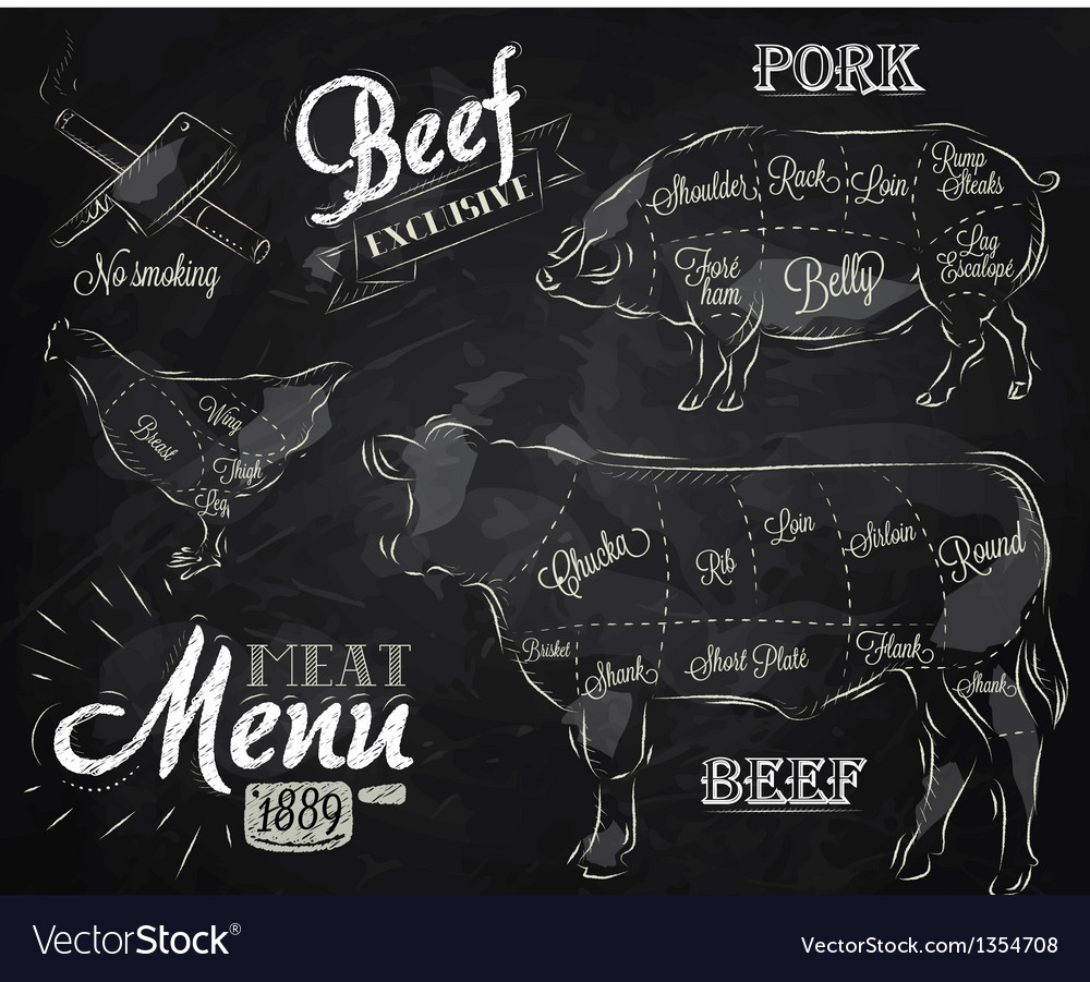 Meat menu chalk vector | Price: 3 Credit (USD $3)