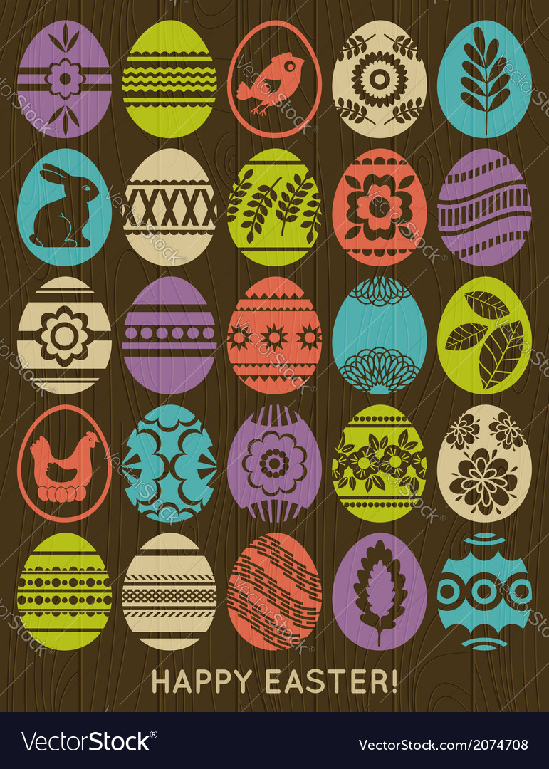 Set of colour easter eggs over wooden background vector | Price: 1 Credit (USD $1)