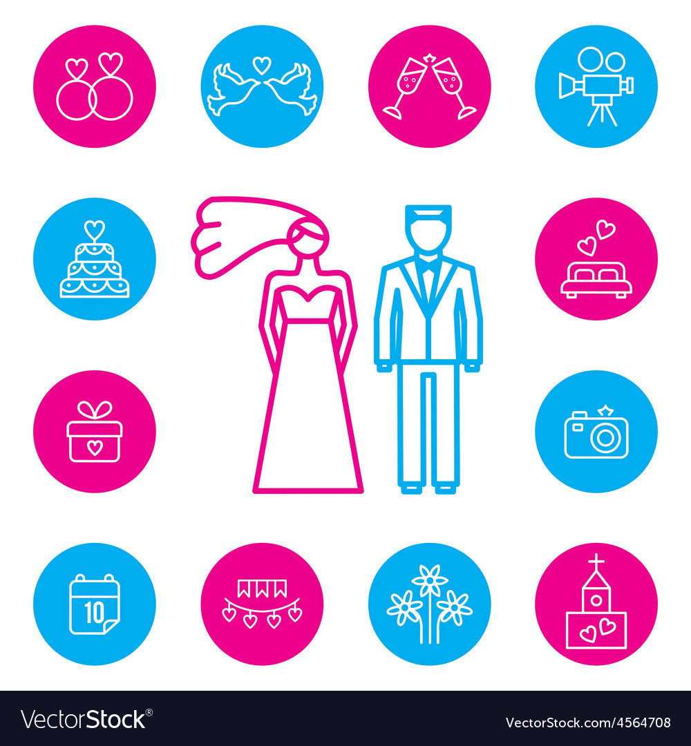 Wedding bride and groom flat icons set vector | Price: 1 Credit (USD $1)
