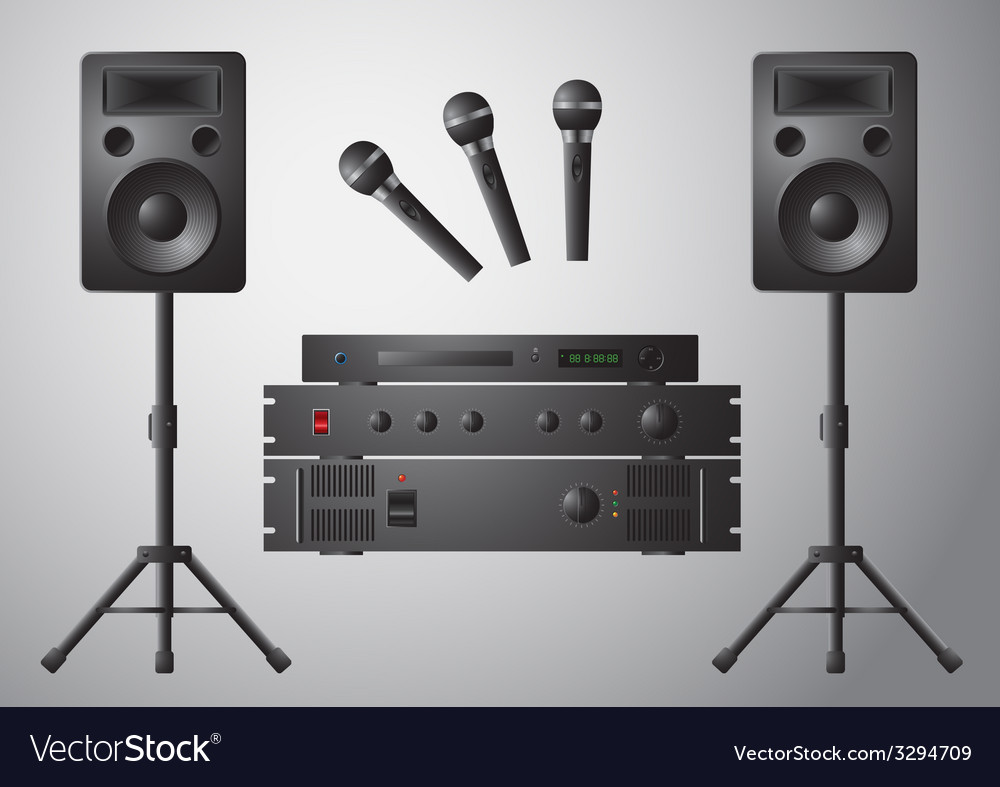 Amplifier microphone speaker dvd-player vector | Price: 3 Credit (USD $3)