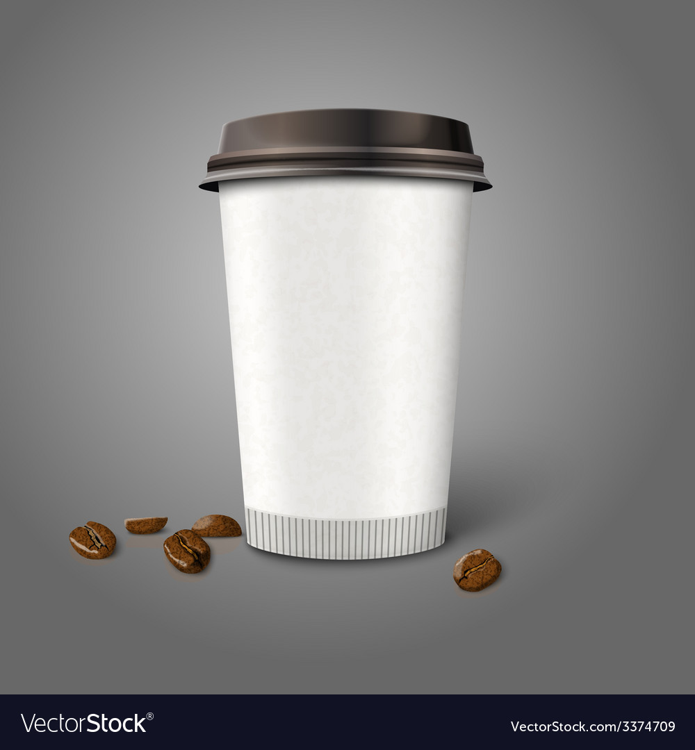 Blank realistic paper coffee cup with beans vector | Price: 3 Credit (USD $3)