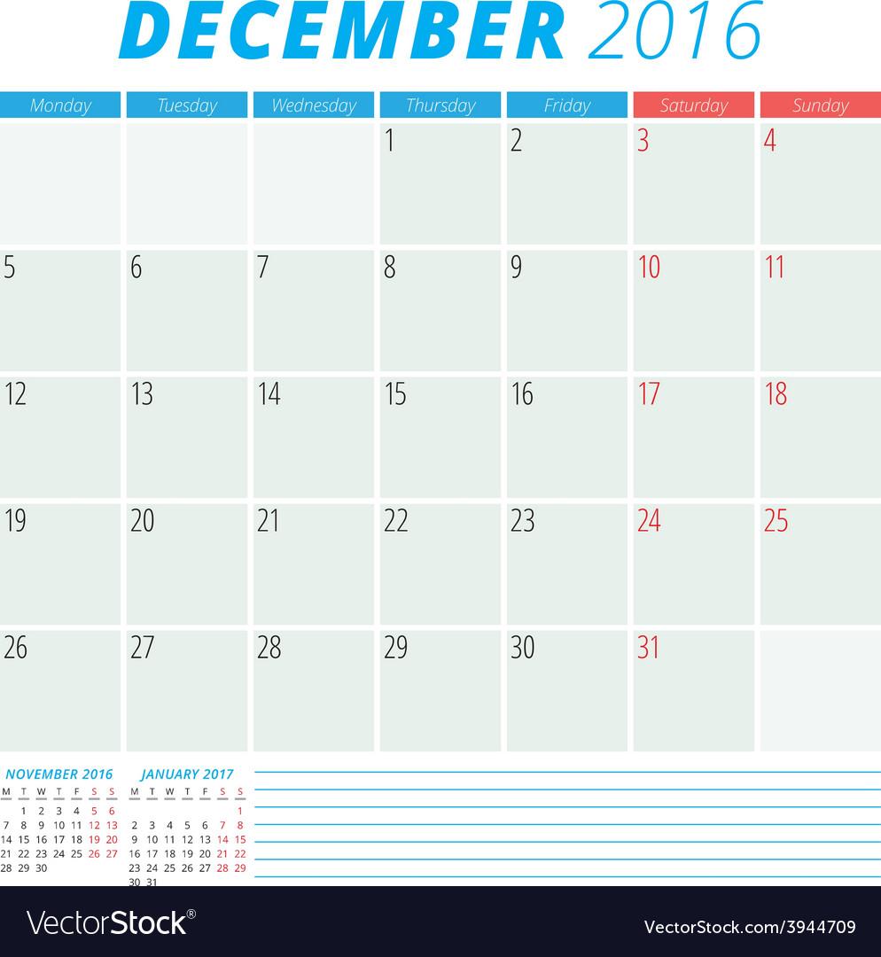 Calendar 2016 flat design template december week vector | Price: 1 Credit (USD $1)