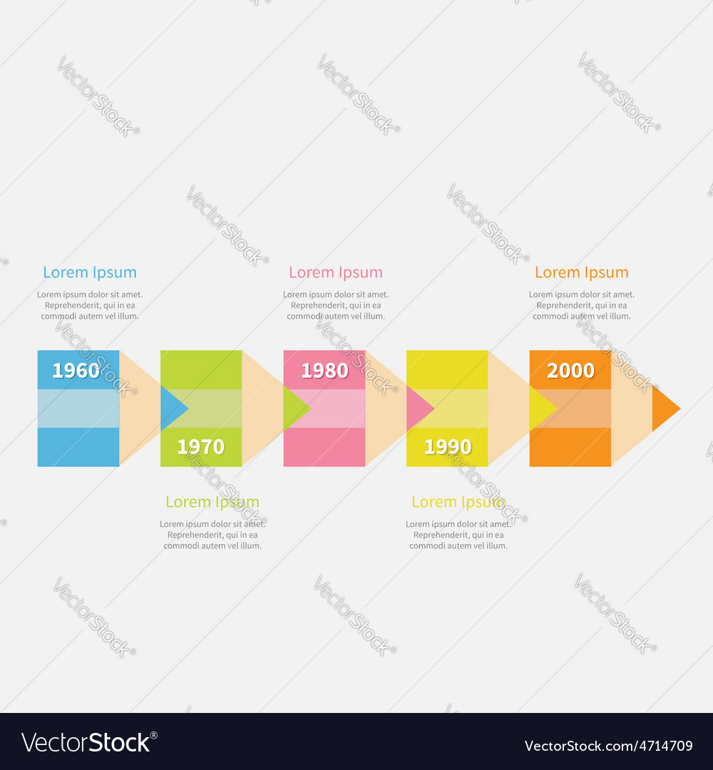 Colorful pencil arrow 5 step timeline infographic vector | Price: 1 Credit (USD $1)
