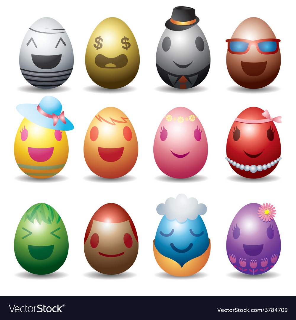 Easter eggs with smile emotion face set vector | Price: 3 Credit (USD $3)