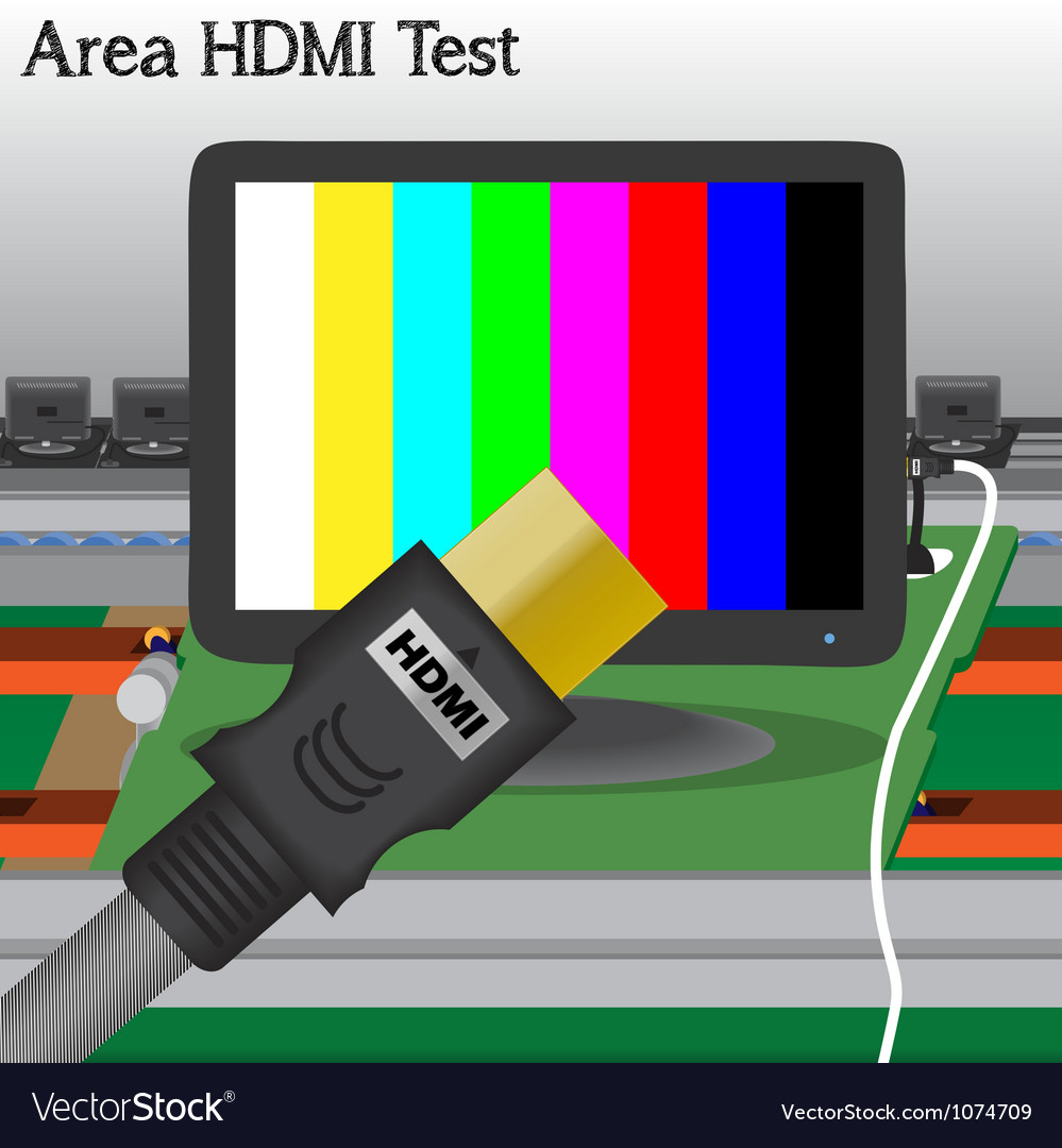 Hdmi signal test in process production television vector | Price: 1 Credit (USD $1)