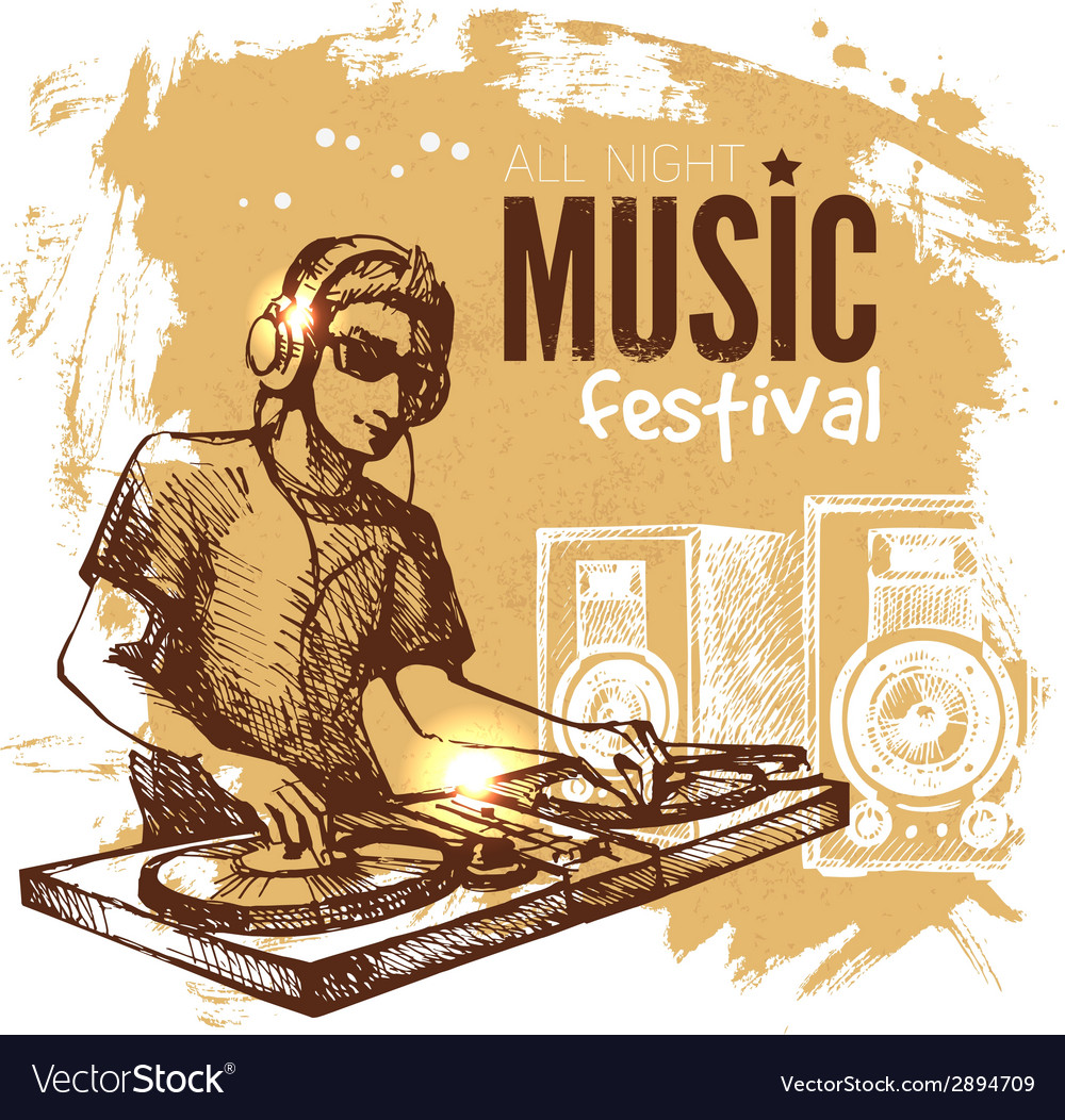 Music vintage background splash blob retro design vector | Price: 1 Credit (USD $1)