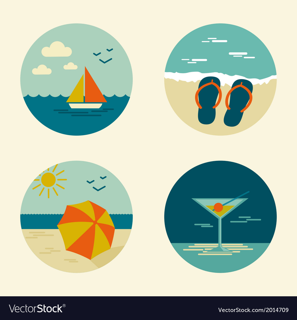 Summer icons retro vector | Price: 1 Credit (USD $1)
