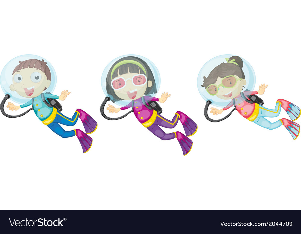 Three scuba divers vector