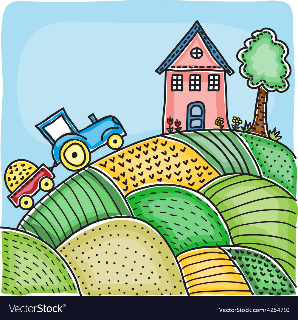 Agricultural fields house on hill vector | Price: 1 Credit (USD $1)
