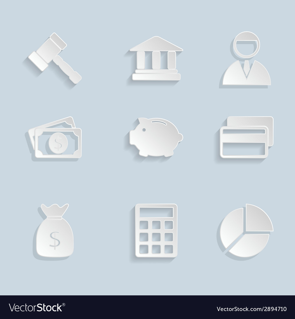 Business paper icons set vector | Price: 1 Credit (USD $1)