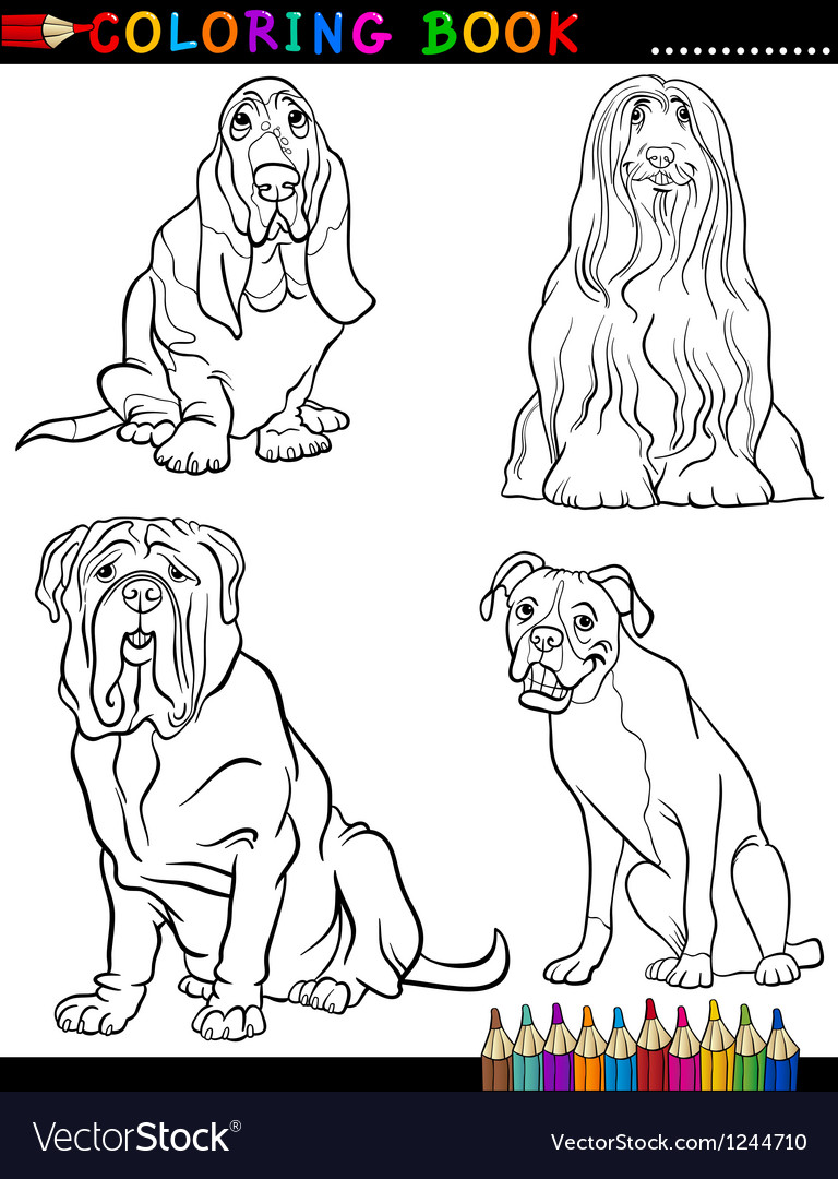Cartoon purebred dogs coloring page vector | Price: 1 Credit (USD $1)