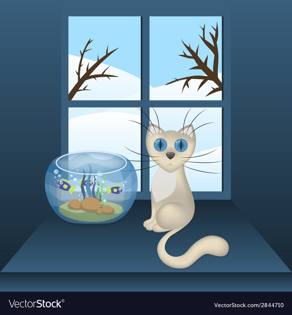 Cartoon white cat and aquarium with fishes vector | Price: 1 Credit (USD $1)