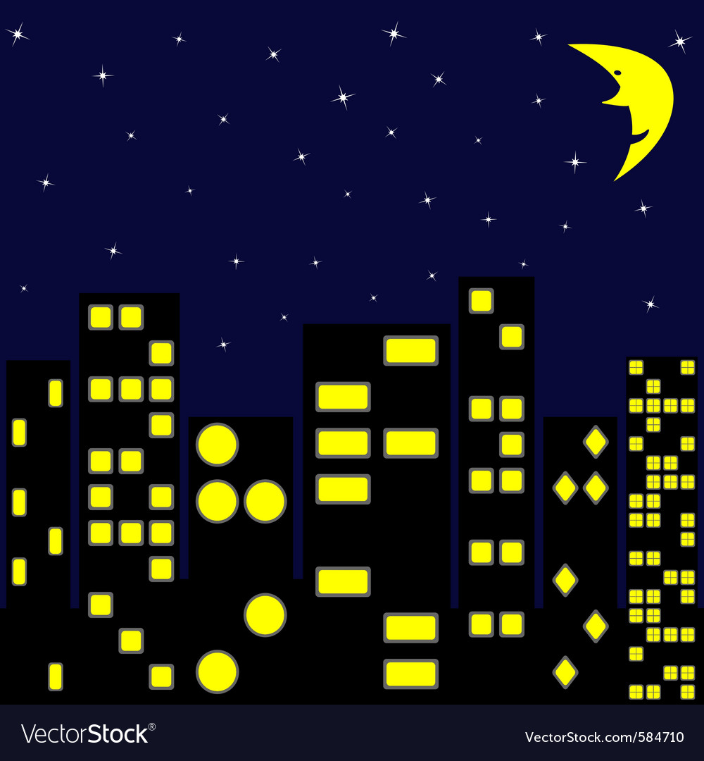 City in night vector | Price: 1 Credit (USD $1)