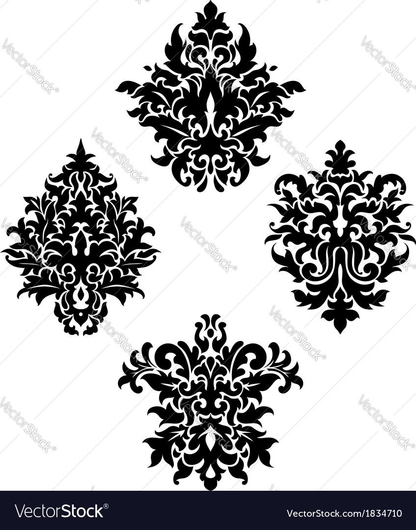 Four different foliate arabesque motifs vector | Price: 1 Credit (USD $1)
