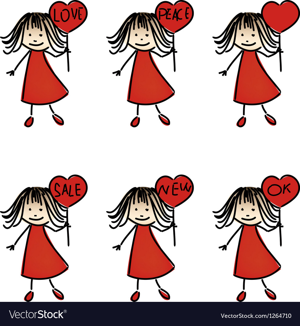 Hand drawing girls with plates vector | Price: 1 Credit (USD $1)