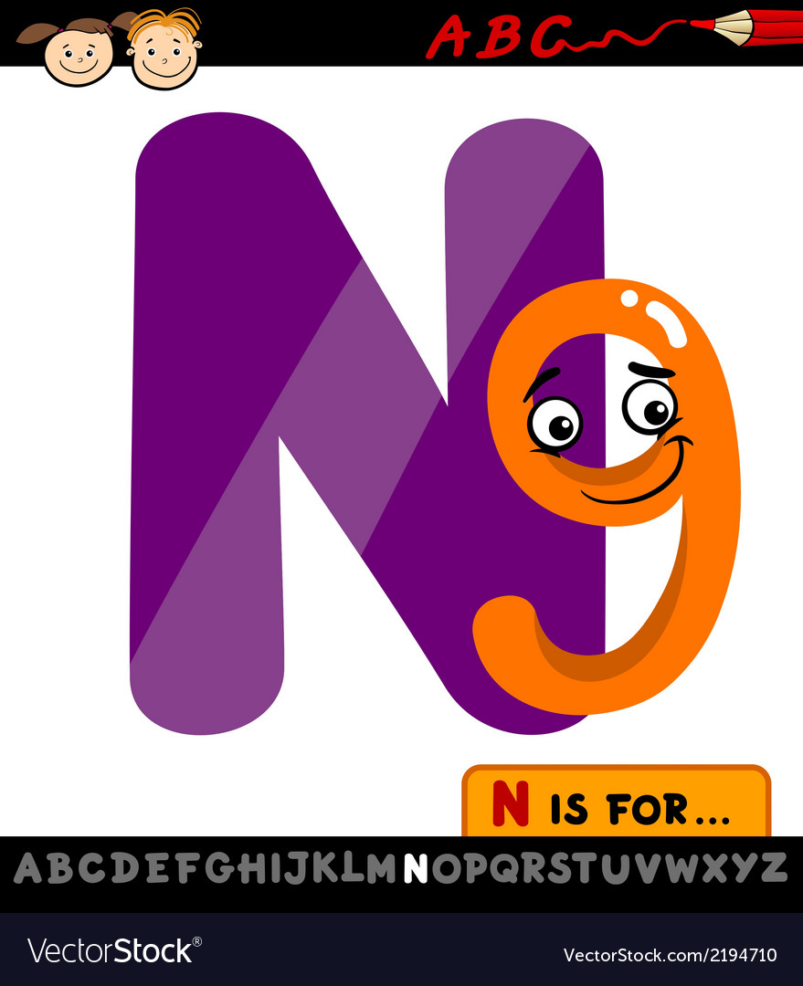 Letter n with nine cartoon vector | Price: 1 Credit (USD $1)