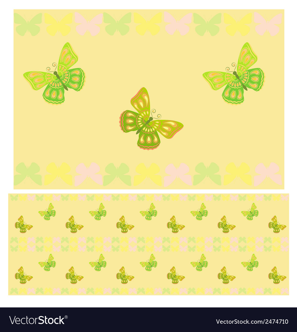 Light green butterflies seamless pattern vector | Price: 1 Credit (USD $1)