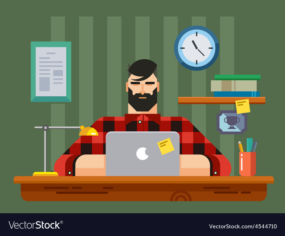 Man at a desk in front of laptop vector | Price: 1 Credit (USD $1)