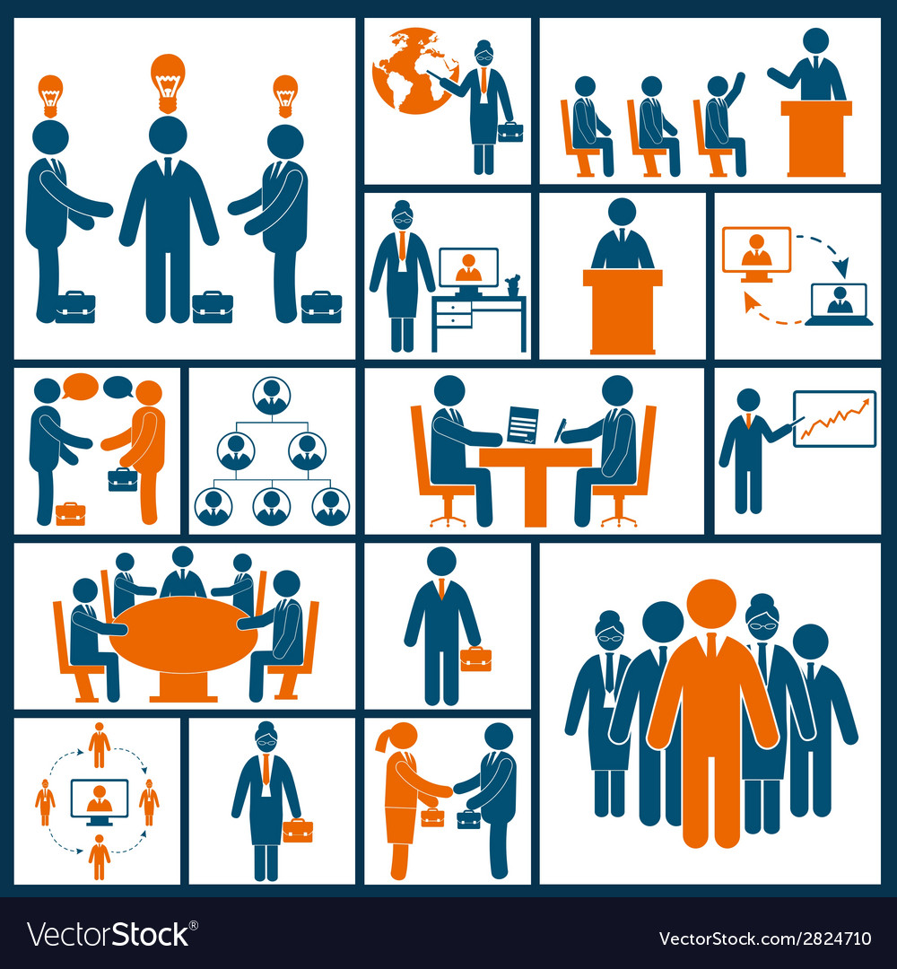 Meeting icons set flat vector | Price: 1 Credit (USD $1)
