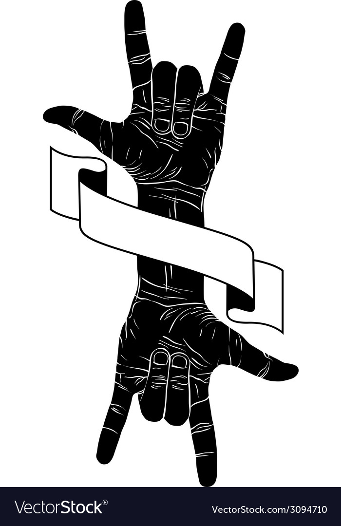 Rock on hand creative sign with two hands an vector   Price: 1 Credit (USD $1)