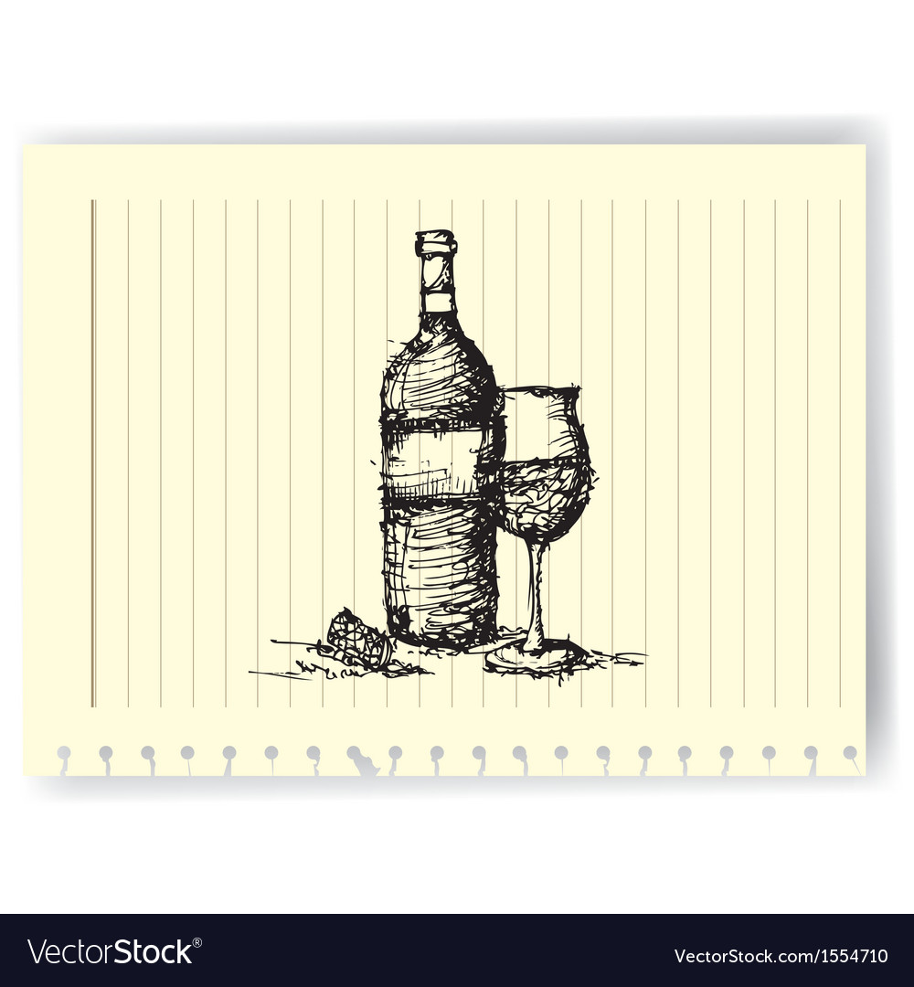 Sketch drawing of wine bottle and glass on lined vector | Price: 1 Credit (USD $1)