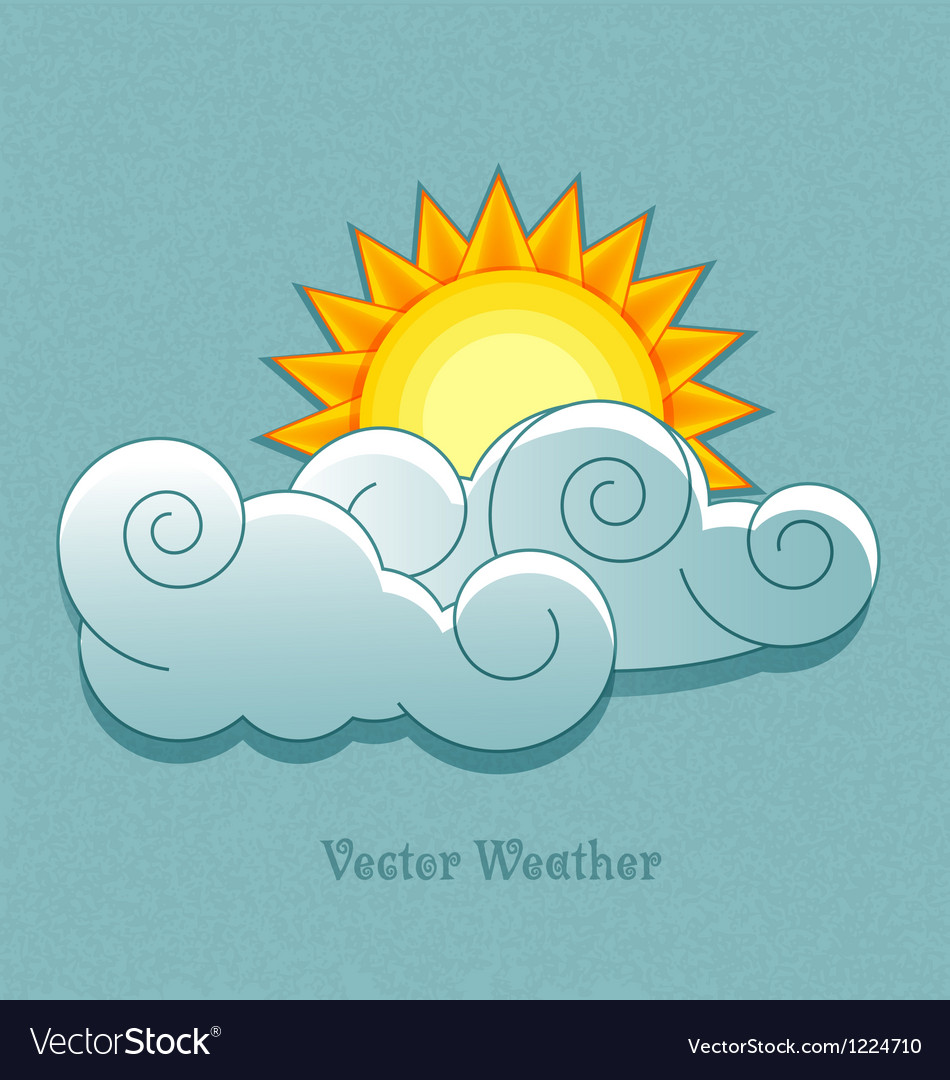 Weather icons in retro style sun behind the clouds vector | Price: 1 Credit (USD $1)