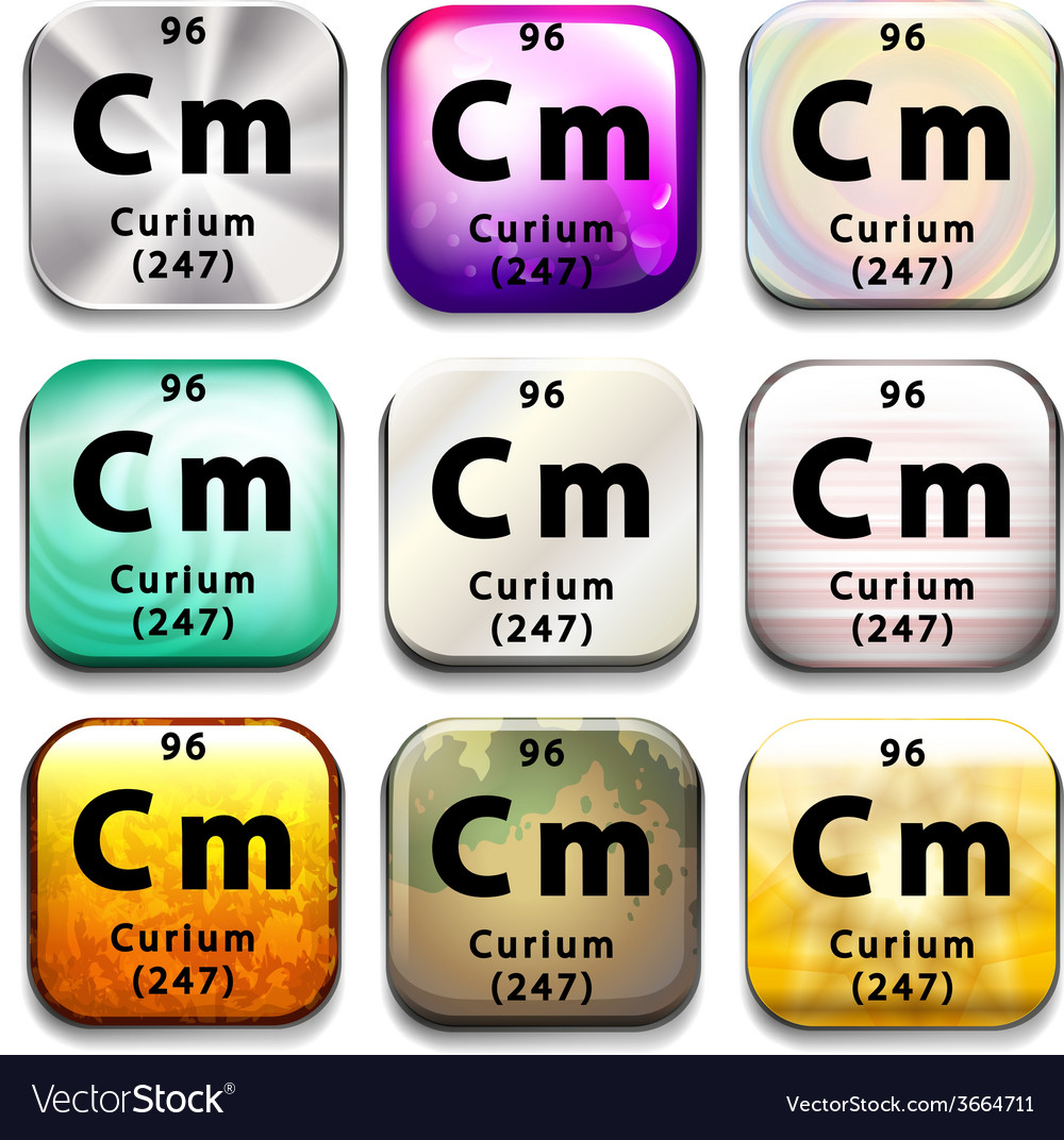 A periodic table button showing the curium vector | Price: 1 Credit (USD $1)