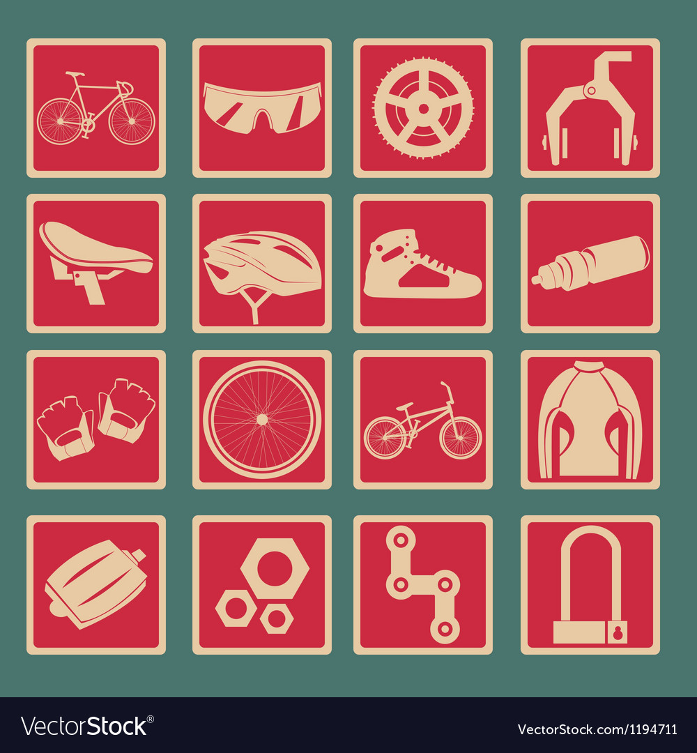Bicycle icon set basic style vector | Price: 1 Credit (USD $1)