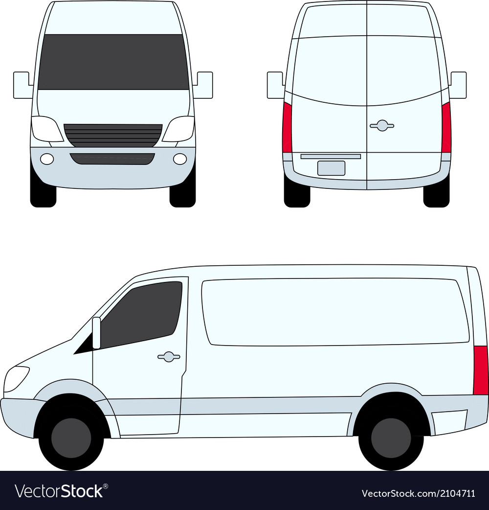 Delivery van white three sides vector | Price: 1 Credit (USD $1)