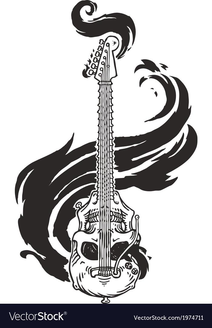 Flaming guitar skull vector | Price: 1 Credit (USD $1)