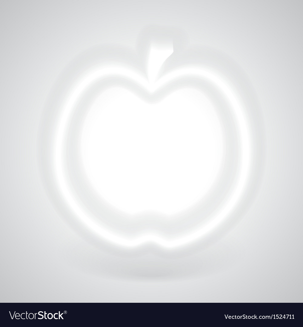 Glowing white apple with shadow vector | Price: 1 Credit (USD $1)