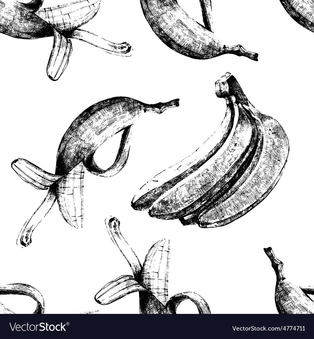 Hand drawn bananas seamless vector | Price: 1 Credit (USD $1)