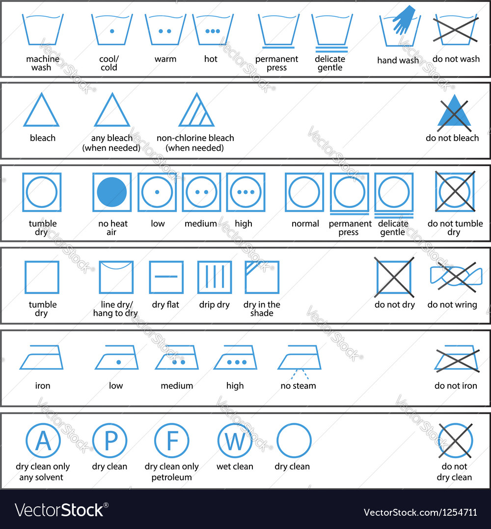 Icon set of washing signs and textile care label vector | Price: 1 Credit (USD $1)