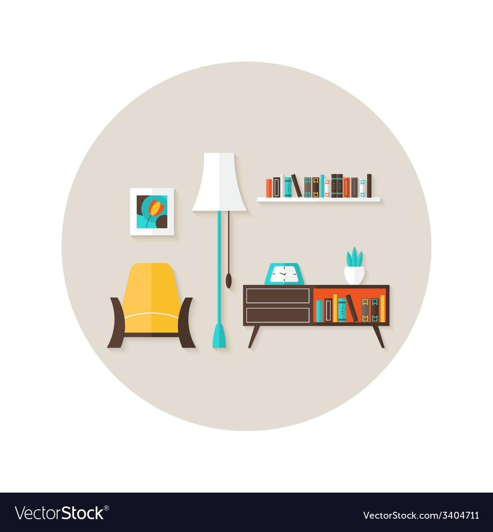 Living room flat circle icon over light brown vector   Price: 1 Credit (USD $1)