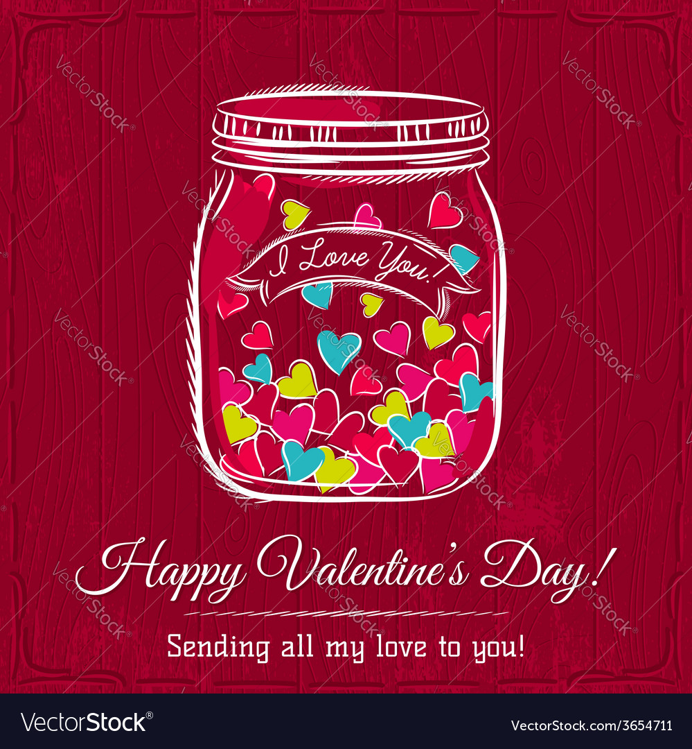 Red valentine card with jar filled with heart vector | Price: 1 Credit (USD $1)