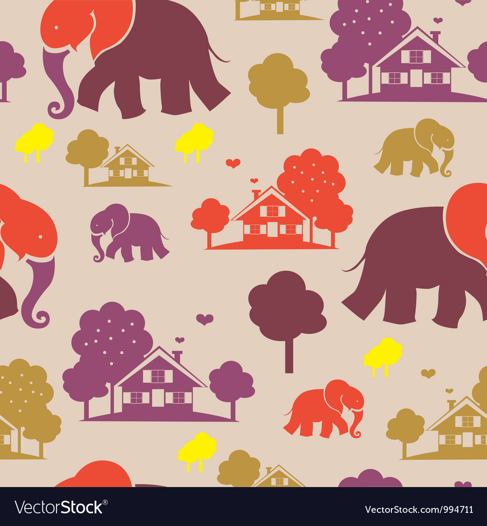 Seamless elefant village vector | Price: 1 Credit (USD $1)