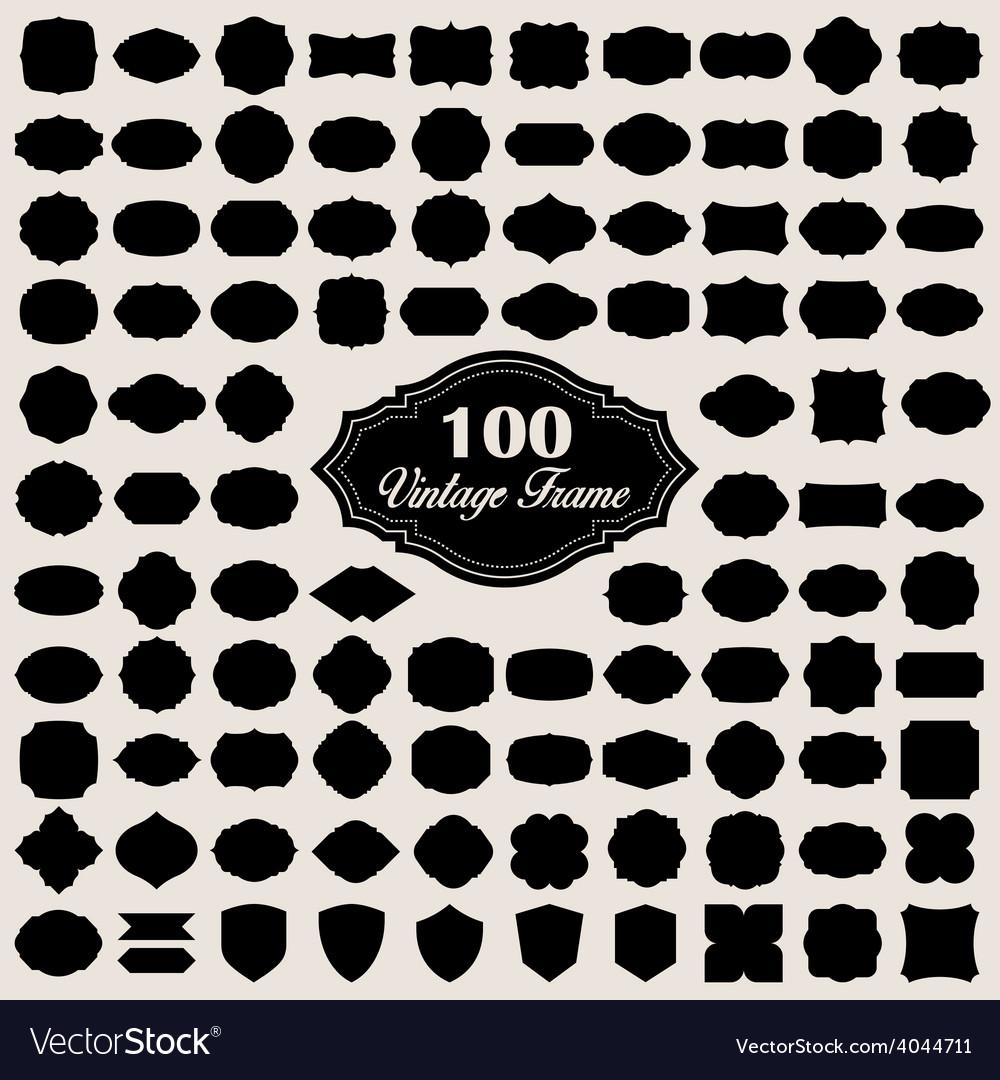 Set of 100 blank vintage frame badges and labels vector   Price: 1 Credit (USD $1)