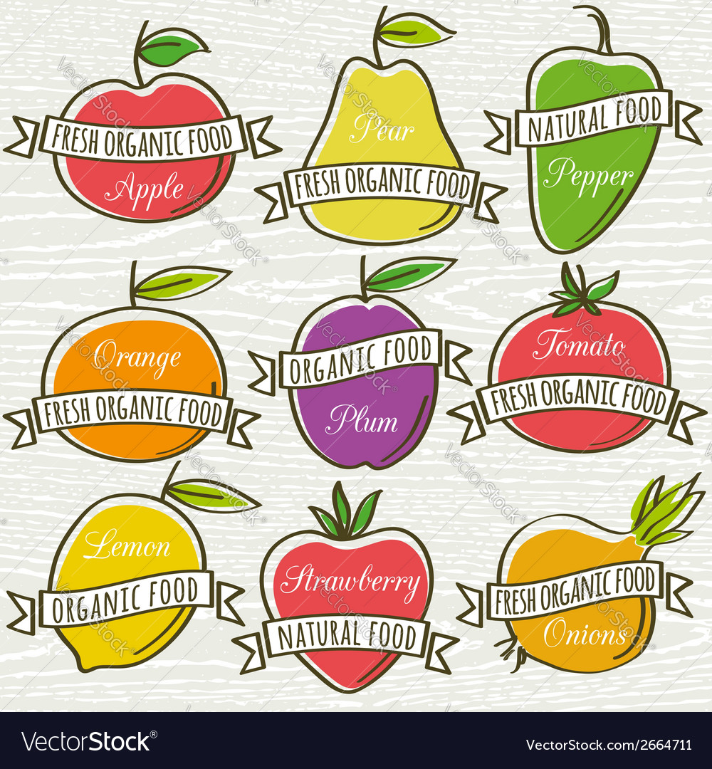 Set of organic vegetable and fruit vector | Price: 1 Credit (USD $1)