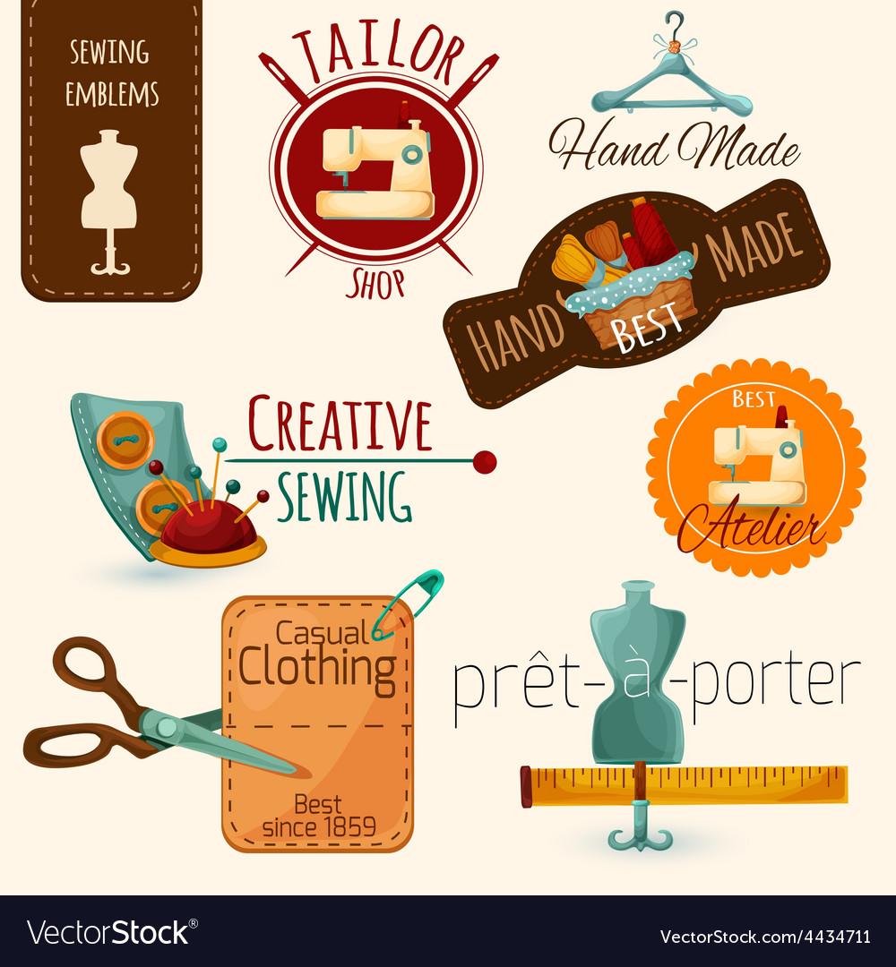 Sewing emblems set vector | Price: 1 Credit (USD $1)