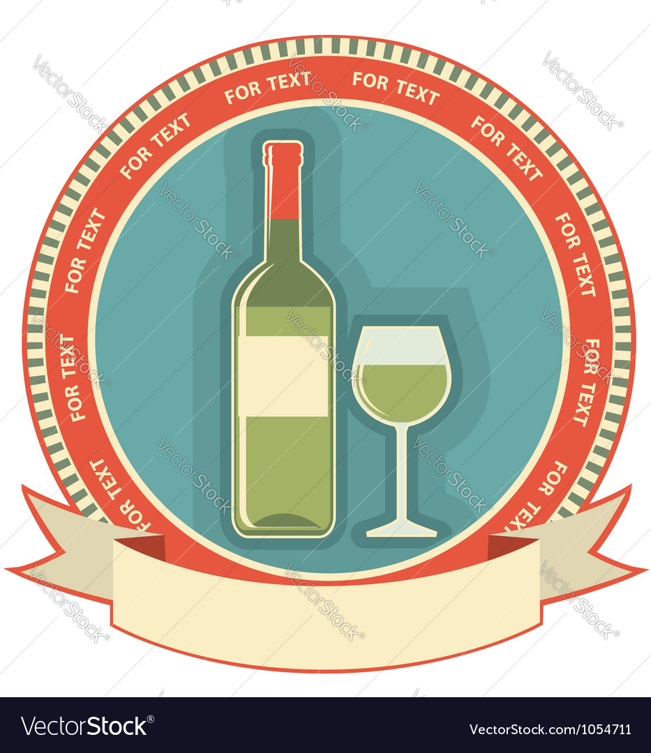 White wine bottle label symbol background vector | Price: 1 Credit (USD $1)