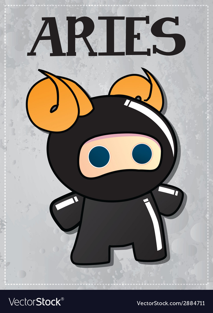 Zodiac sign aries with cute ninja character vector | Price: 1 Credit (USD $1)