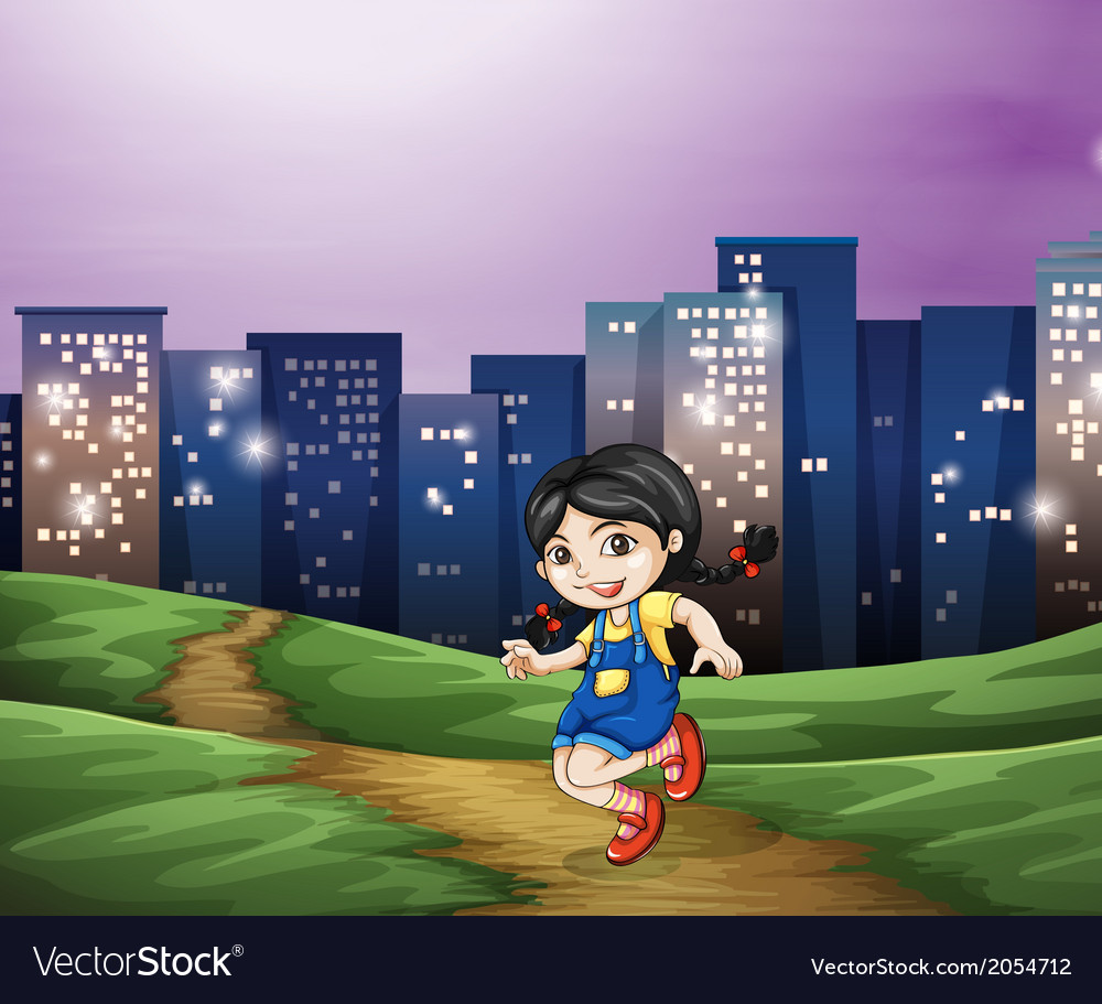 A young girl across the tall buildings in the city vector | Price: 1 Credit (USD $1)