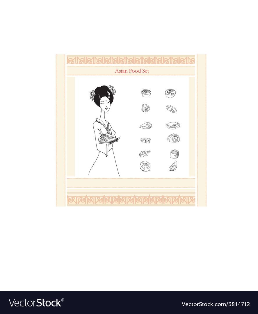 Asaian girl and sushi menu doodle set vector | Price: 1 Credit (USD $1)