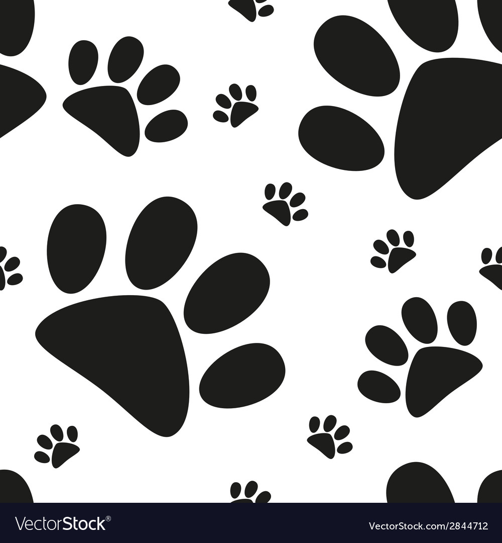 Cartoon cat paw seamless pattern vector | Price: 1 Credit (USD $1)