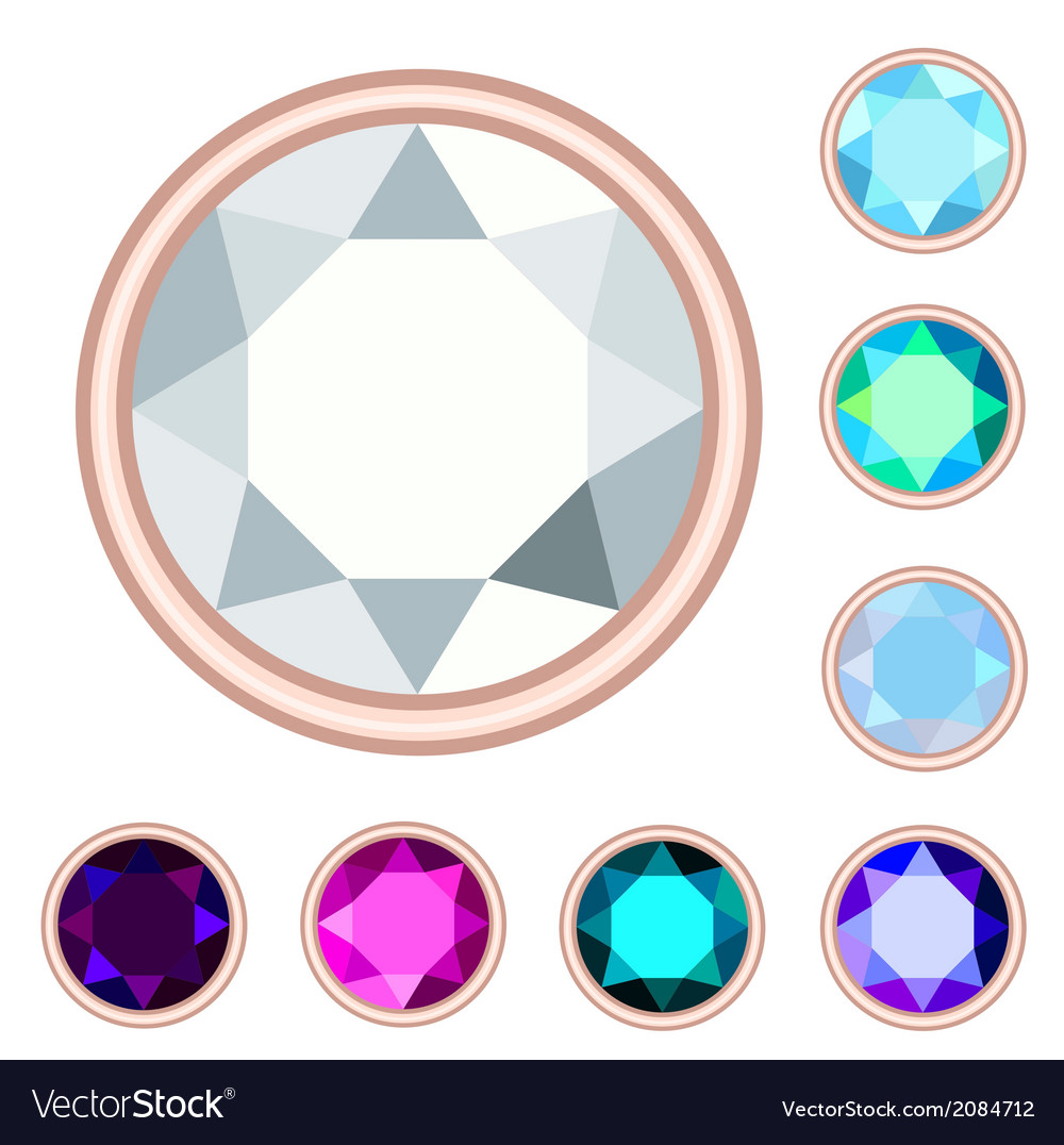 Circle gemstone set vector | Price: 1 Credit (USD $1)