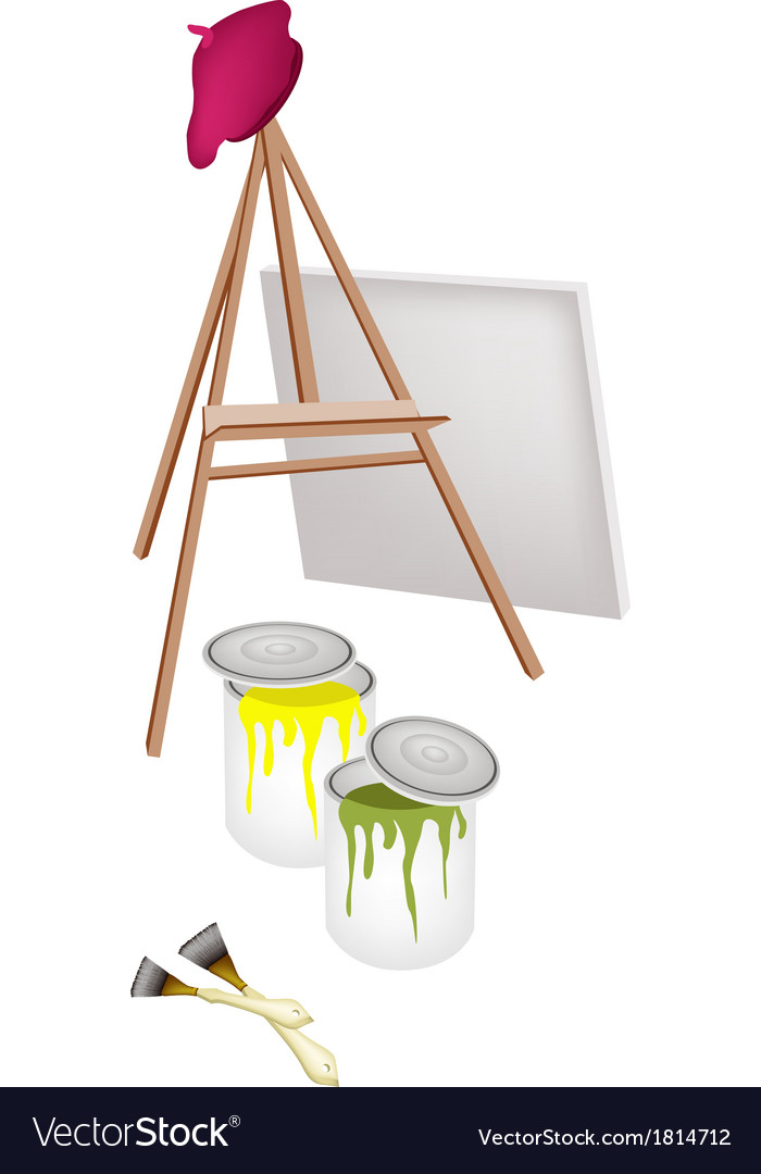 Easel and paint cans with brush and beret vector | Price: 1 Credit (USD $1)