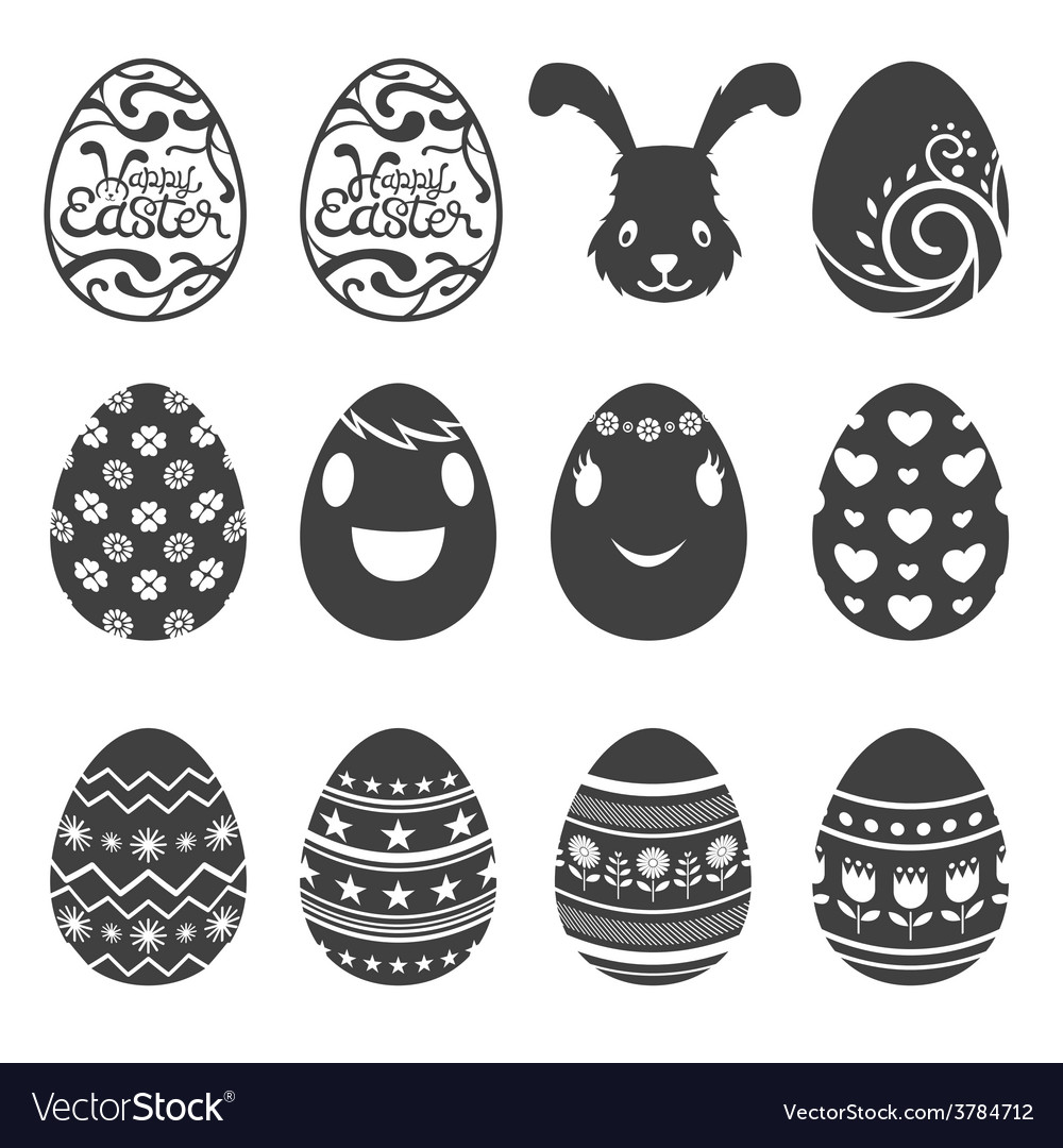 Easter eggs icons and set vector | Price: 1 Credit (USD $1)